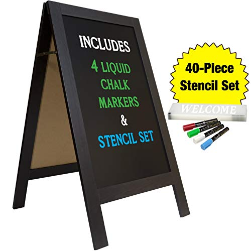 Large Sturdy Handcrafted 40' x 20' Wooden A-Frame Chalkboard Display / 4 Liquid Chalk Markers & Stencil Set/Sidewalk Chalkboard Sign Sandwich Board/Chalk Board Standing Sign (Black)