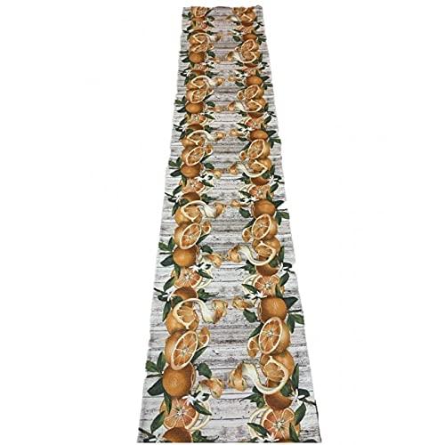 SUARDI Alfombra antideslizante con impresión digital, fabricada en Italia, art. Naranja, 58 x 290 cm
