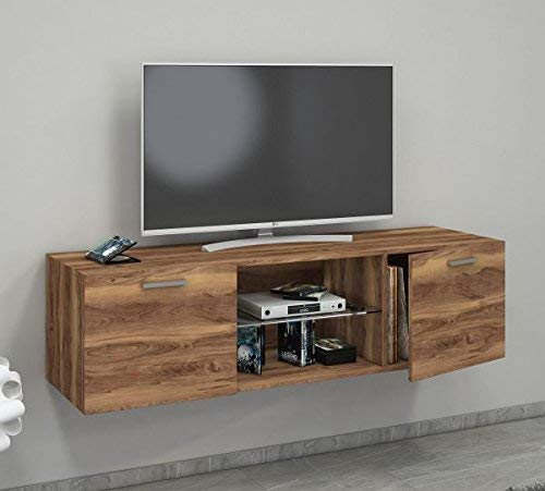 VCM TV Schrank Lowboard Tisch Board Fernseh Sideboard Wandschrank Wohnwand Kern-nussbaum 40 x 140 x 36 cm