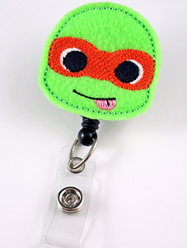 Ninja Turtle Orange - Nurse Badge Reel - Retractable ID Badge Holder - Nurse Badge - Badge Clip - Badge Reels - Pediatric - RN - Name Badge Holder
