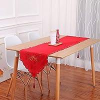 ディナーパーティーのためのタッセル付きのクリスマス装飾テーブルランナーリネンテーブルクロスは、ホームデコレーション、レッド、ホワイト用品 (Color : Red, Size : 40*175cm)