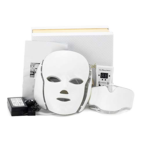 Forewan Máscara LED con cuello, terapia de luz facial, lámpara de 7 colores para el cuidado de la piel, profesional, antiarrugas, relajación de la piel