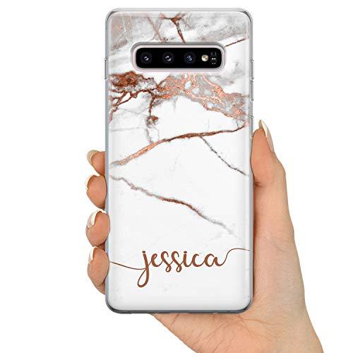 TULLUN Personalisierter Individueller Name Initialen Text Roségold Marmor ET Custom Schutzhülle aus Hartplastik HandyHülle - Horizontaler Name - für Samsung Galaxy A3 (2016)