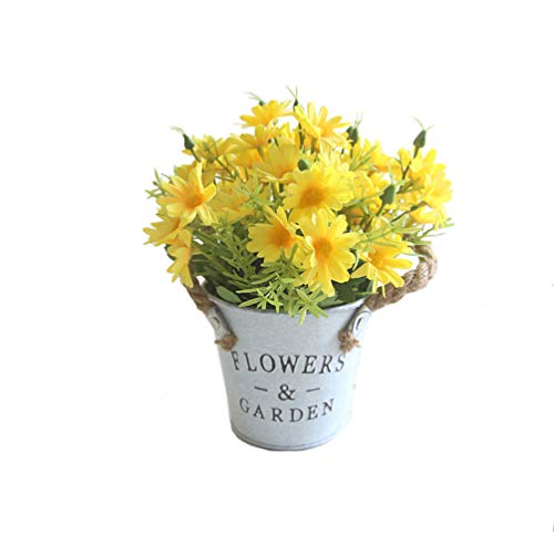 UUPP Potted Artificial Daisy Flowers Bonsai Plant Fake Flowers in Metal Pot for Home Office Windowsill Decor, Yellow