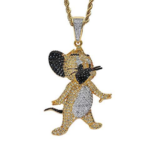 Gold gefroren Jerry Anhänger Pflaster voll Kubik Zirkonia Cartoon Maus Halskette Hip Hop Rapper Schmuck für Männer Geschenk