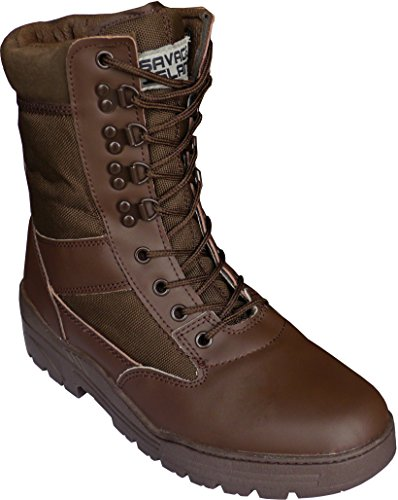 Brown Army Leather Combat Patrol Boots Cadets Military Work Security (6 UK)