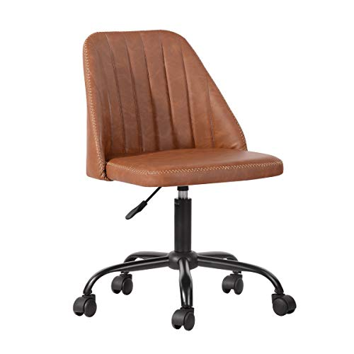 HouseInBox Home Office Chair, Mid Back Task Chair, Classic Leather Computer Writing Chair for Long Working Hours, Adjustable Height Rolling Swivel (Brown)