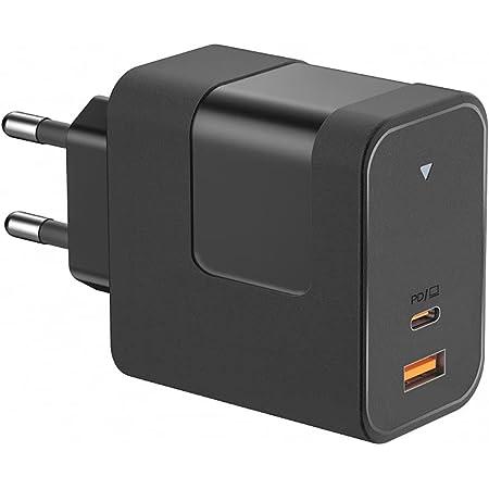 Cargador rápido USB C (Puerto Dual USB C 65W PD3.0 y USB-A 5V / 2A) con tecnología GAN Cargador de Pared Compatible con MacBook Pro/Air, DELL XPS13, HP Spectre, Phone/Pad Pro, etc.