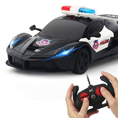 Hahepo Coche teledirigido 1/24 RC Police Car Patrol Elektro Cop juguete para niños niños...