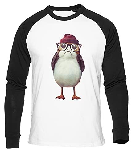 Hipster Pájaro Camiseta De Béisbol Blanca para Hombre Mujer Unisex Manga Larga Cuello Redondo White Baseball Tshirt Unisex XXL