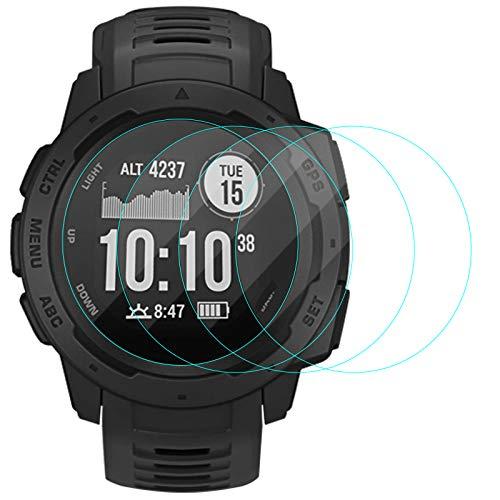 CAVN Compatible con Garmin Instinct Protector de Pantalla, [4 Packs] Protector de Pantalla de Vidrio Templado Impermeable Protector para Instinct Smartwatch [Anti-Arañazos] [Anti-Burbujas]