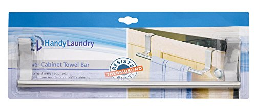 "Over Cabinet Towel Bar 14"" - Stainless steel towel bar won't rust, foam protects bathroom and kitchen cabinets from scratches, easily fits over all standard 3/4"" cabinets, No installation is required."