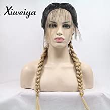Xiweiya blonde with brown root Double Braids Synthetic Braided Lace Front Wig with Baby Hair Wig Heat Resistant Fiber Middle Part