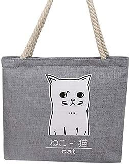 Gimax Top-Handle Bags - Women Canvas Handbag Cartoon Cat Printed Shoulder Bag Female Large Capacity Ladies Beach Bag Women Canvas Tote Shopping Handbags - (Color: Gray)
