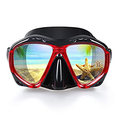 EXP VISION Snorkel Diving Mask, Panoramic HD Scuba Swim Mask, Tempered Anti-Fog Lens Glasses Snorkel Goggles, Scuba Dive Snorkel Mask with Silicone Skirt Strap for Dry Snorkeling, Swimming (Red)
