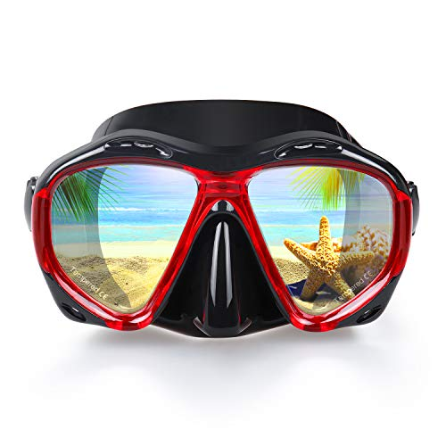 Snorkel Diving Mask, Panoramic HD Scuba Swim Mask, Tempered Anti-Fog Lens Glasses Snorkel Goggles, Scuba Dive Snorkel Mask with Silicone Skirt Strap for Dry Snorkeling, Swimming (Black-Red)