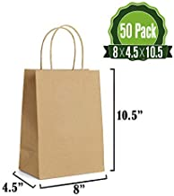 Brown Kraft Paper Gift Bags Bulk with Handles 8 X 4.5 X 10.5 [50Pcs]. Ideal for Shopping, Packaging, Retail, Party, Craft, Gifts, Wedding, Recycled, Business and Merchandise Bag (Twist handles-50Pack)