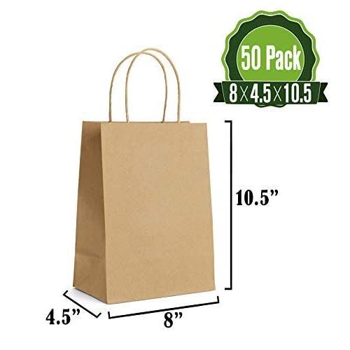 1cac7fc2eaf6 Brown Kraft Paper Gift Bags Bulk with Handles 50Pc   Ideal for Shopping