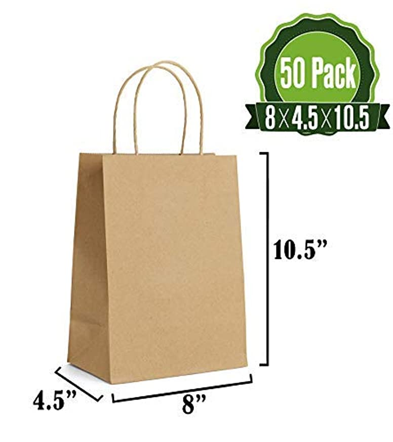 Brown Kraft Paper Gift Bags Bulk with Handles 50Pc [ Ideal for Shopping, Packaging, Retail, Party, Craft, Gifts, Wedding, Recycled, Business, Goody and Merchandise Bag]