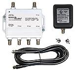 4-Port Passive Return Cable TV/Antenna/HDTV/Internet Digital Signal Amplifier/Booster/Splitter, F59 Terminators, Connect 4 Devices