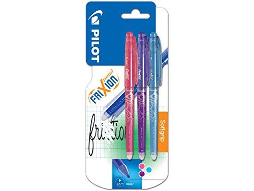 Pilot FriXion - Bolígrafo roller de gel de tinta borrable (3 unidades), color rosa, morado y azul