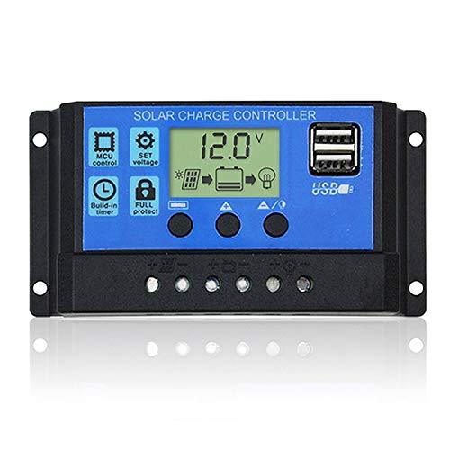 DOKIO Contrôleur de charge solaire 10 A 12 V/24 V Régulateur de charge intelligent avec double sortie USB 5V