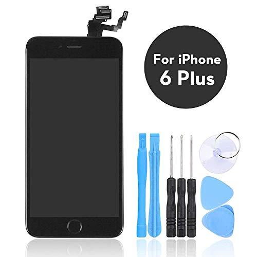 LL Trader Negro Pantalla Táctil para iPhone 6 Plus LCD Touch Screen Digitizer Partes de Repuesto con Herramientas (Home Botón, Cámara, Sensor Flex)