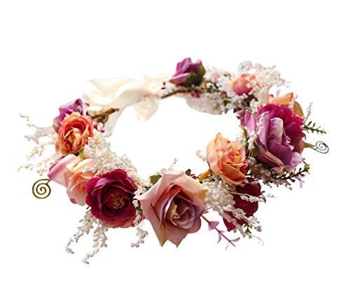 Rose Flower Crown Floral Wreath Headband Hair Wreath Hair Garland Flower Halo Floral Headpiece Boho with Ribbon Wedding Party Festival Rosy by Brikuinr