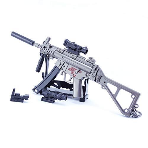 DJIEYU 1/4 Escala del Ejército Militar Miniatura Mini HK MP5 Subametralladoras de Metal Modelo Pistola Figura Accesorios de Juguete Llavero Die Cast Decoración Juguetes