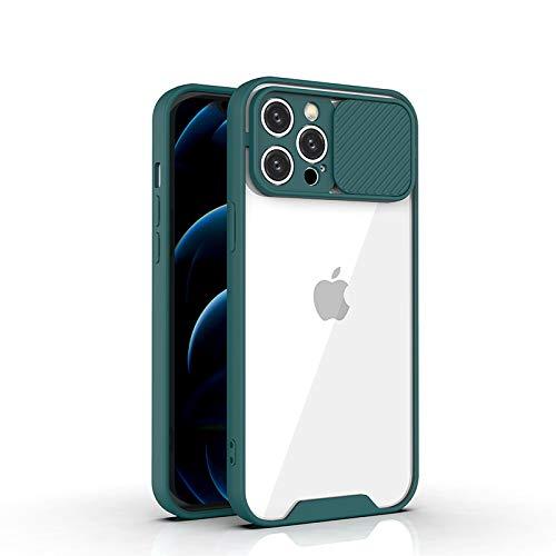 Tybiky Camera Slider Funda Compatible con iPhone 12 Funda Cámara Teléfono Móvil con Presión, Protección de Cámara, Resistente a arañazos Funda para iPhone 12 6,1 pulgadas, Verde Oscuro