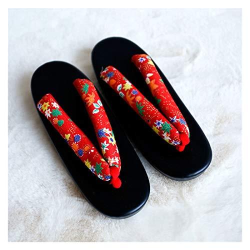 ZCPCS Hierba de Madera Suave Hierba Inferior Impresión Inferior Señora y Ropa de Madera 屐 Zapatillas japonesas y de Ropa (Color : 02, Size : 39-41)