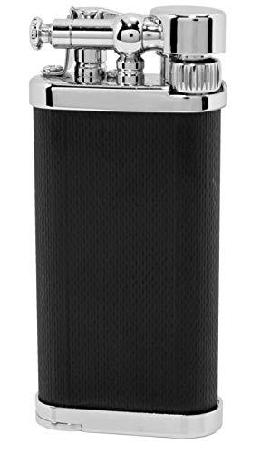 IM Corona Pfeifen Feuerzeug Old Boy chrom/schwarz mit Stopfer, hochwertige Qualität - als Geschenk geeignet