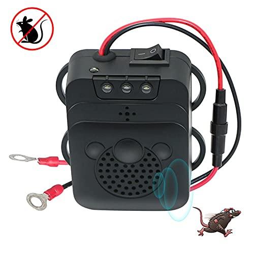 Repelente ultrasónico de roedores con luz de destello, vibración y función de detección de bajo voltaje, conexión a batería de coche de 12 V para coche, cocina, garaje, almacén