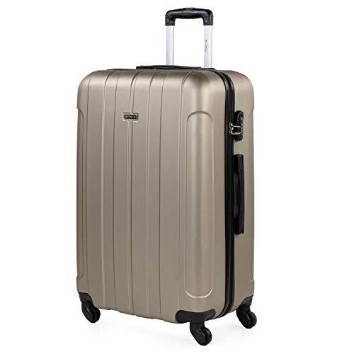 ITACA - Maleta de Viaje Grande XL rígida 4 Ruedas Trolley 73 cm de abs Lisa. cómoda y Ligera. Calidad diseño Gran Capacidad. Estilo y Marca. 771170, Color Champagne