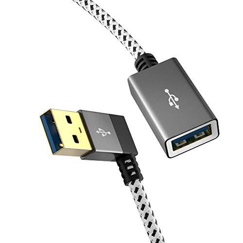 USB C Kabel,CableCreation [2-Pack] kurz (1 Ft) USB3.0 Verlängerungskabel, Links Winkel USB 3.0 Stecker auf buchese, 90 Grad für Oculus VR, Xbox, Tastatur, Drucker, Scanner,Space Grau