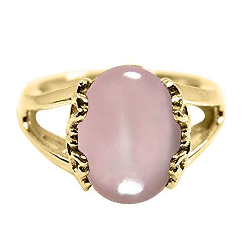 Gemsyogi Damen - Vergoldet Oval Pink Rosenquarz - natürlich
