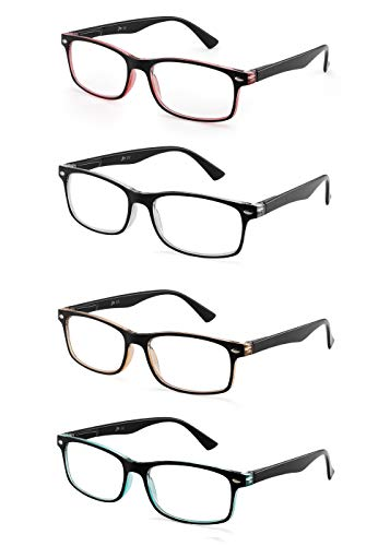 JM Set of 4 Reading Glasses Vintage Rectangular Spring Hinge Readers for Men Women +2.5 Mix Color