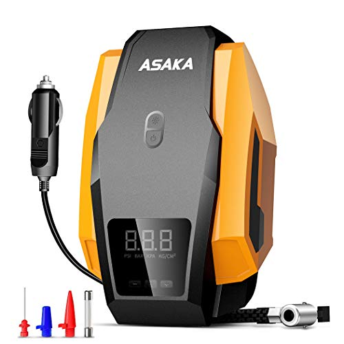 ASAKA Portable Air Compressor Pump -12V DC 150 PSI Air Compressor Tire Inflator, Auto Tire Pump with LED Light, Digital Air Pump for Car - Bicycle - Motorcycle - Basketball and Other