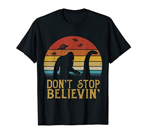 Bigfoot riding Loch Ness Monster don't stop believin' shirt