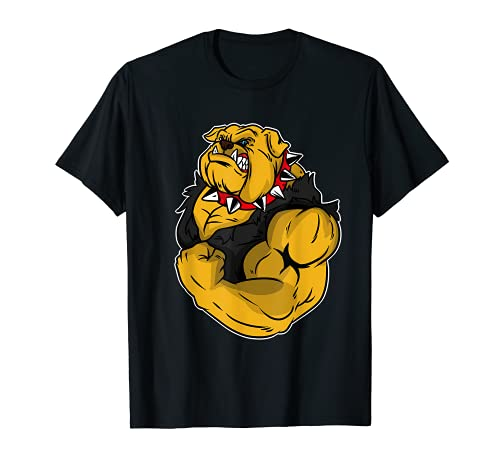 Hund Muskulös Muskeltraining Fitness Sport Bulldog T-Shirt