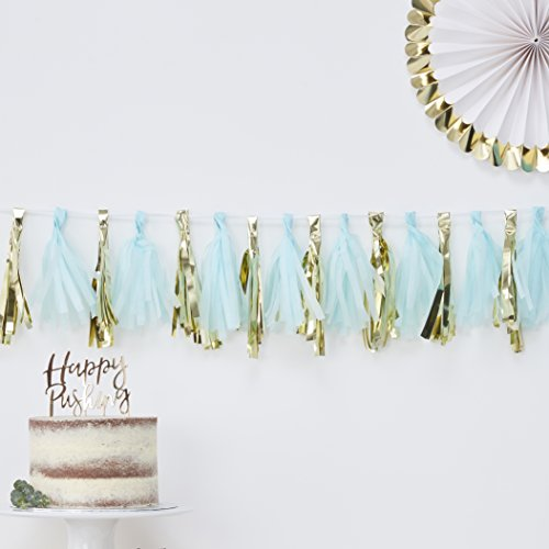 Ginger Ray Blue And Gold Foiled Baby Shower Party Tassel Garland 16 Pack
