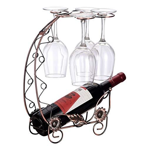 LIYANJJ Soporte De Cubilete Creativo Europeo De Vidrio De Vino De Forja Estante De Almacenamiento De La Cocina Encimera De La Barra De Vidrio De Vino Soporte De Exhibición con 4 Ganchos Botelleros
