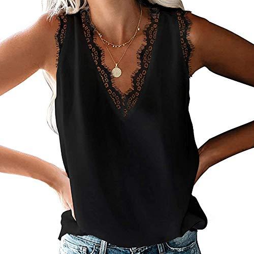 Bipily Mujer Camisa sin Mangas con Cuello en V y Encaje con Cuello en Informal sin Mangas Camisa Blusa Camisole Blouse Shirt Cami Tank Top de Verano-Negro-L
