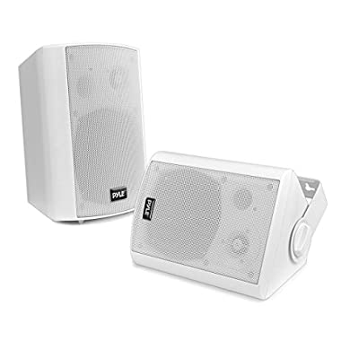 Pyle Outdoor Wall-Mount Patio Stereo Speaker - Waterproof Bluetooth Wireless & No Amplifier Needed - Portable Electric Theater Sound Surround System for Home Party Cabinet Enclosure PDWR61BTWT