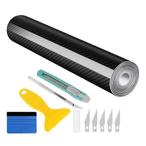 Wilktop 6D Carbonio Adesiva, 6D Lamina di Carbonio Spessore Pellicola Auto Vinile Fibra di Carbonio Alta Lucida 6D Carbonio Pellicola Adesiva per Auto (30 x 300 cm) Nero