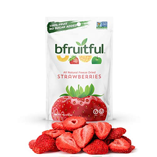 bfruitful Freeze Dried Strawberry, Natural, 100% Healthy and Delicious Fresh Strawberry Fruit Crisps, No Sugar Added, Non-GMO Verified, Gluten Free (Pack of 12)