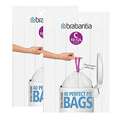 Brabantia Müllbeutel Spenderverpackung 12 l (C) 40 Stück (2 Pack)