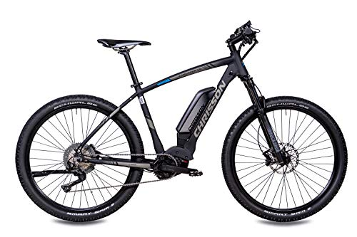 41oUO5QlTbL - CHRISSON 27,5 Zoll E-Bike Mountainbike - E-Mounter 3.0 schwarz - Elektrofahrrad, Pedelec für Damen und Herren - Motor Performance Line CX 250W, 85Nm - E-Mountainbike mit Power Pack 500 Wh Akku