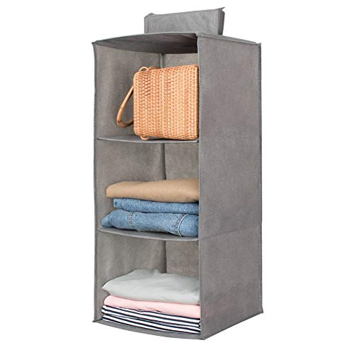 Hanging Closet OrganizerSweater sock Organizer with a Hook and LoopsCollapsible Storage Shelves for Clothes pants and Shoes Grey-3 Shelf