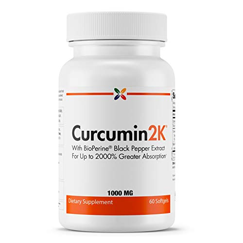 Stop Aging Now - Curcumin2K Formula with Bioperine - Brain & Heart Health, Antioxidants, Mood Support, Joint Health and Joint Pain Relief - Turmeric & Black Pepper Extract - 60 Softgels